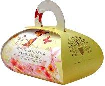 English Soap Company White Jasmine & Sandalwood Large Bath Soap - Луксозен сапун с масло от ший и аромат на бял жасмин и сандалово дърво - крем
