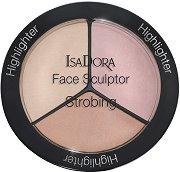 """IsaDora Face Sculptor Strobing Highlighter - Палитра с 3 цвята хайлайтър за скулптуриране на лицето от серията """"Strobing"""" -"""