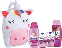 Подаръчен комплект с чанта за момичета - Fa Kids & Schauma & Vademecum - Шампоан, душ гел и пасти за зъби - продукт