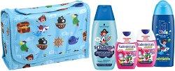 Подаръчен комплект с чанта за момчета - Fa Kids & Schauma & Vademecum - Шампоан, душ гел и пасти за зъби - крем