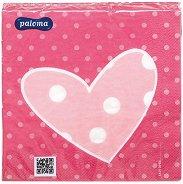 Салфетки за декупаж - Розово сърце - Пакет от 20 броя