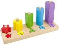Цветове, форми и числа - Дървена образователна играчка за нанизване -