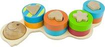 Гъсеница - Дървена играчка за нанизване -