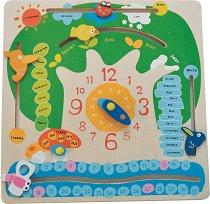 Детски календар и часовник - Дървена образователна играчка -