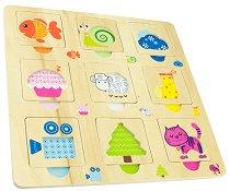 Форми, цветове и животни - Дървена образователна играчка - играчка