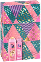 Подаръчен комплект - Fa Magic Oil & Pink Passion - Душ гел и дезодорант - гъба за баня