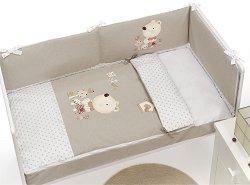 Спален комплект за бебешко креватче - Natute - 4 части с цип, обиколник и олекотена завивка -