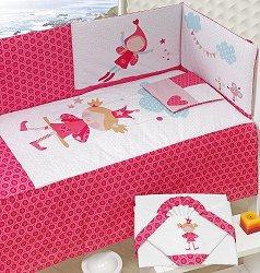 Спален комплект за бебешко креватче - Принцеса - 4 части -