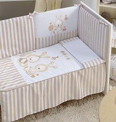 Спален комплект за бебешко креватче - Две зайчета - 4 части -