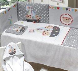 Спален комплект за бебешко креватче - Пирати - 4 части -