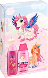 Подаръчен комплект за момичета - Fa Kids & Schauma - Шампоан и душ гел за деца - лосион
