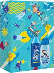 Подаръчен комплект за момчета - Fa Kids & Schauma - Шампоан и душ гел за деца - тампони