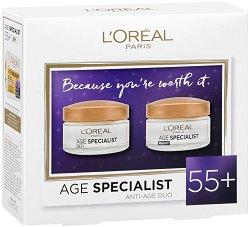 Подаръчен комплект - L'Oreal Age Specialist 55+ - Дневен и нощен крем за лице против бръчки - серум