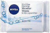 Nivea 3-in-1 Cleansing Micellar Wipes - Почистващи мицеларни кърпички за лице в опаковка от 25 броя - маска