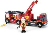 Пожарна кола със звук и светлина - Детска дървена играчка - играчка