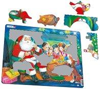 Дядо Коледа и децата - Пъзел в картонена подложка - пъзел