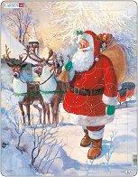 Дядо Коледа с шейната - Пъзел в картонена подложка -
