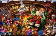 Домът на Дядо Коледа - Пъзел в картонена подложка -