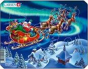 Дядо Коледа в Коледната нощ - Пъзел в картонена подложка - пъзел