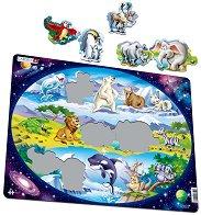 Животните в Южна Африка, Антарктида и Австралия - Пъзел в картонена подложка - пъзел