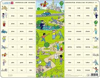 Научи английски език XI - Образователен пъзел в картонена подложка -