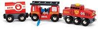 """Пожарникарско влакче - Дървена играчка от серията """"Brio: Влакчета"""" - играчка"""
