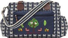 Чанта за близнаци - Twice as Nice: Cream Butterflies on Navy - Аксесоар за детска количка с подложка за преповиване -