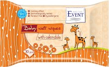 """Event Baby Wipes with Calendula - Бебешки мокри кърпички с невен от серията """"Baby"""" - шампоан"""