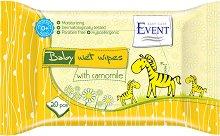 """Event Baby Wipes with Camomile - Бебешки мокри кърпички с лайка  в опаковка от 20 броя от серията """"Baby"""" - крем"""