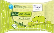 "Event Baby Wipes with Aloe Vera - Бебешки мокри кърпички с алое вера от серията ""Baby"" - мокри кърпички"