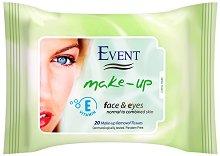 Event Make-Up Removal Wet Wipes - Мокри кърпички за почистване на грим с витамин E за нормална към смесен тип кожа - сапун