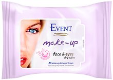 Event Make-Up Removal Wet Wipes - Мокри кърпички за почистване на грим с жожоба за суха кожа - сапун