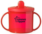 """Червена неразливаща се чаша с прибиращ се накрайник - Essential First Cup 190 ml - От серия """"Explora"""" за бебета над 4 месеца - чаша"""
