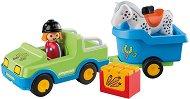 """Кола с ремарке за кон - Детски конструктор от серията """"Playmobil: 1.2.3"""" - играчка"""