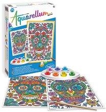 Оцветявай с акварелни бои - Череп - Творчески комплект за рисуване -