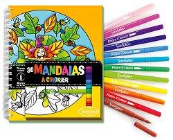 Mandalas - комплект от книжка за оцветяване + флумастери -