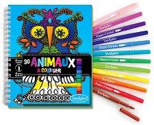 Animaux - комплект от книжка за оцветяване + флумастери -