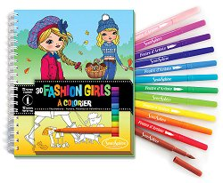 Fashion Girls - комплект от книжка за оцветяване + флумастери -
