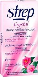 Strep Crystal Depilatory Strips Body - Епилиращи ленти за тяло с камелия и витамин E в опаковка от 20 броя - продукт