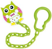 Зелен клипс с верижка - Owls - Аксесоар за бебешка залъгалка -