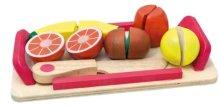 Плодове - Детски дървен комплект с ножче за рязане - играчка