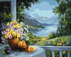 Рисуване по номера - Почивка край езерото - Комплект за картина с размери 50 x 40 cm