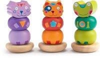 Kikou-mix - Детски дървен комплект за нанизване -