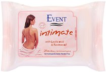 Event Intimate Wet Wipes - Интимни мокри кърпички с чаено дърво и млечна киселина - сапун