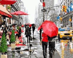 Рисуване по номера - Дъждовен ден - Комплект за картина с размери 50 x 40 cm