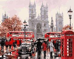 Рисуване по номера - Лондон - Комплект за картина с размери 50 x 40 cm