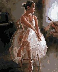 Рисуване по номера - Балерина - Комплект за картина с размери 50 x 40 cm