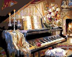 Рисуване по номера - Пиано - Комплект за картина с размери 50 x 40 cm
