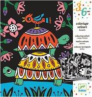 Оцветявай с флумастери - Кадифени животни - Творчески комплект за рисуване - творчески комплект