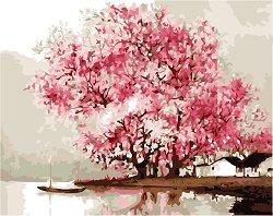 Рисуване по номера - Дърво на брега - Комплект за картина с размери 50 x 40 cm